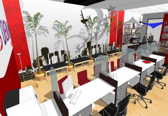 Diexim travel agency c b for Travel agency interior design ideas